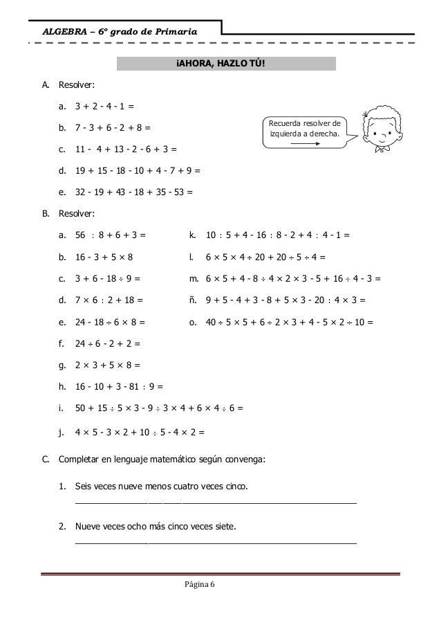 Fantástico Sexto Grado Hojas De Trabajo De Matemáticas De álgebra ...
