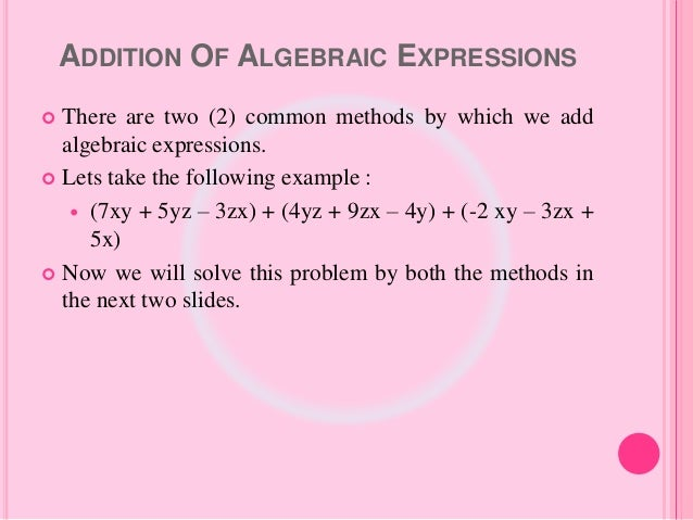 Algebraic Expressions And Identities