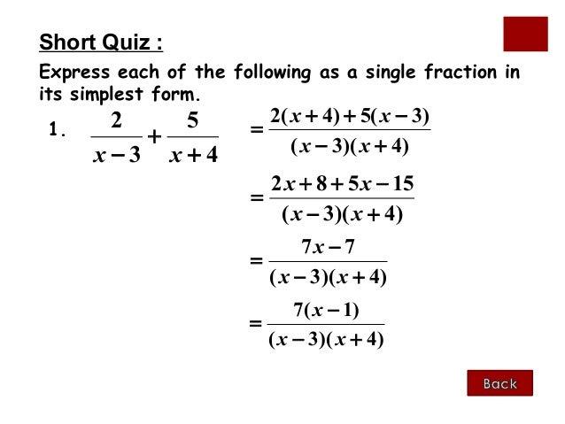 Algebraic fractions 1