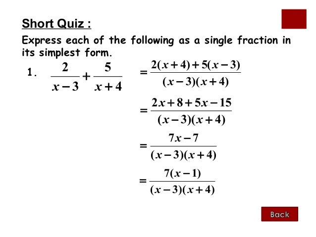 simplest form algebra  Algebraic fractions 8