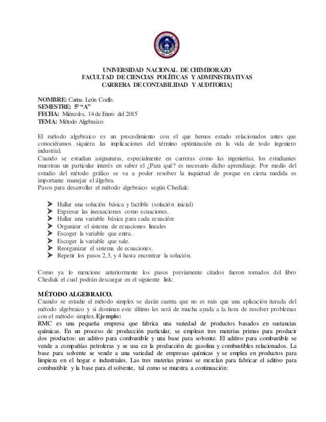 UNIVERSIDAD NACIONAL DECHIMBORAZO FACULTAD DECIENCIAS POLÍTICAS Y ADMINISTRATIVAS CARRERA DECONTABILIDAD Y AUDITORIA} NOMB...