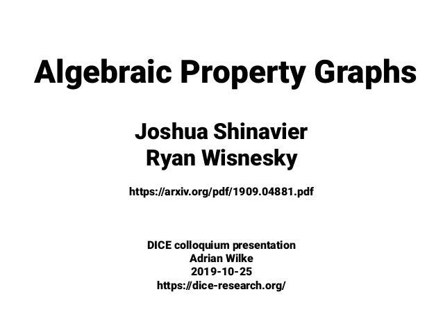 Algebraic Property Graphs Joshua Shinavier Ryan Wisnesky https://arxiv.org/pdf/1909.04881.pdf DICE colloquium presentation...