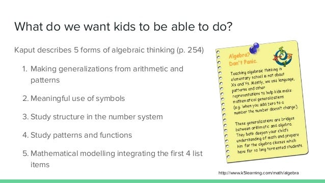 Algebraic thinking: generalizations, patterns and functions