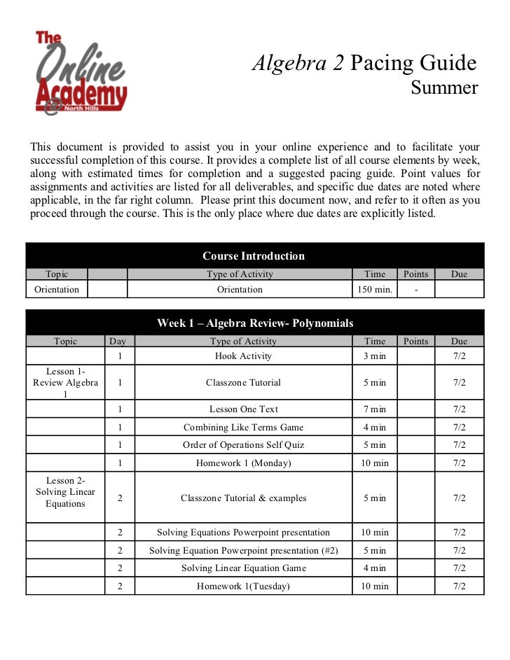 Algebra 2 Pacing Guide                                                                                     SummerThis docu...