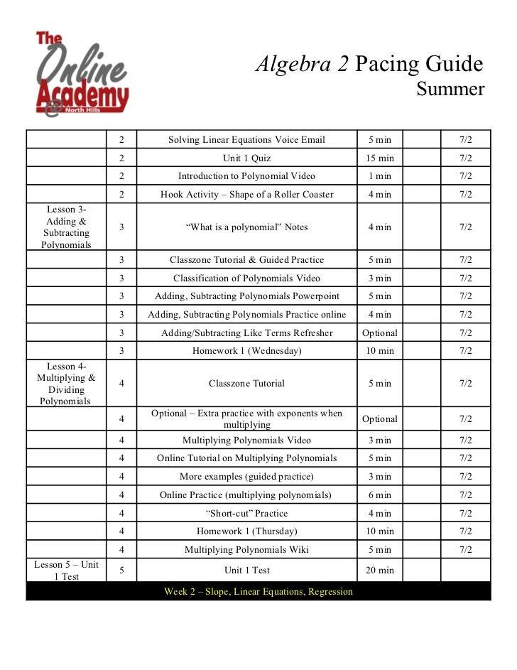 Algebra 2 Pacing Guide
