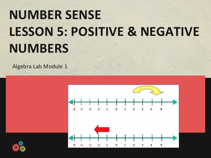 NUMBER	  SENSE	  LESSON	  5:	  POSITIVE	  &	  NEGATIVE	  NUMBERS	  Algebra	  Lab	  Module	  1
