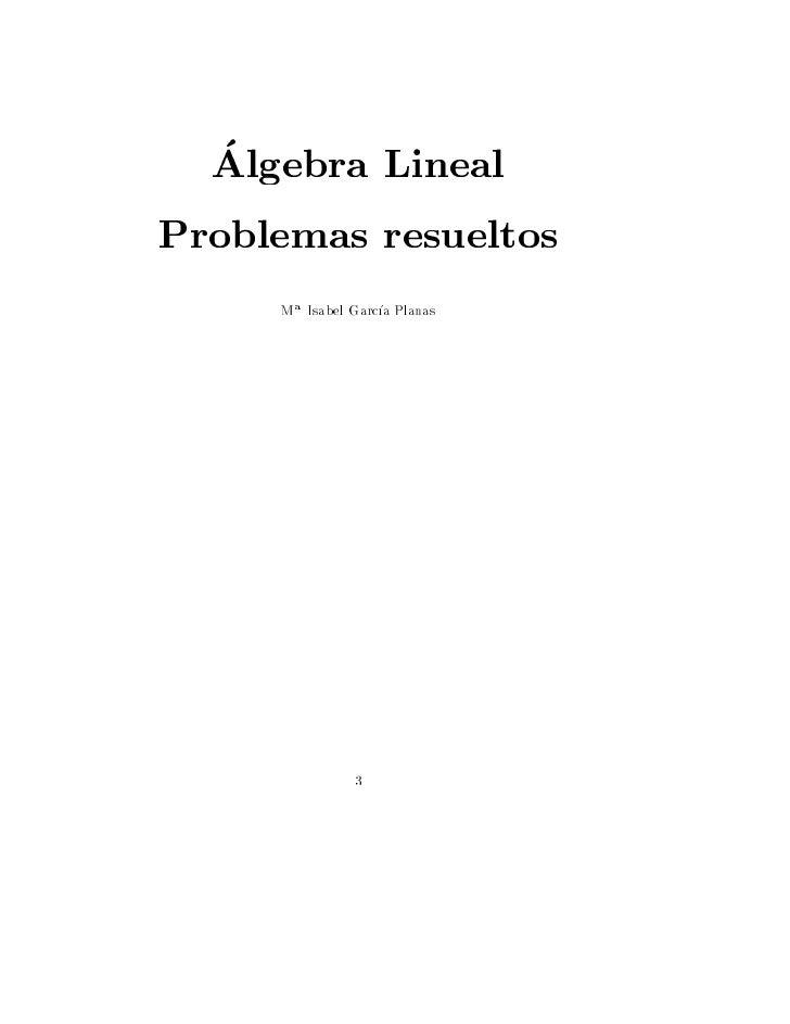 Algebra LinealProblemas resueltos     M a Isabel Garc a Planas                3