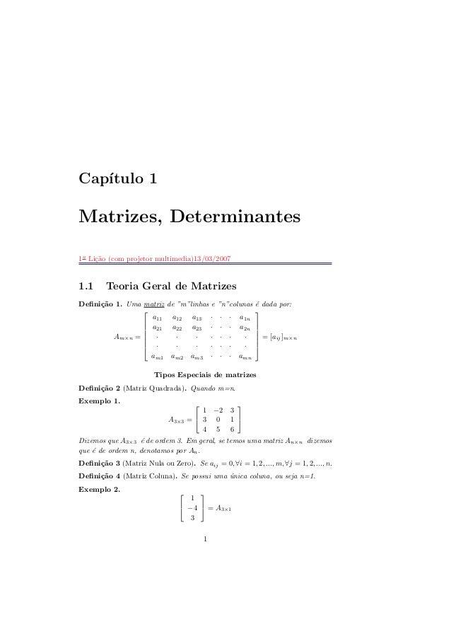 Cap´ıtulo 1 Matrizes, Determinantes 1a L i¸c˜a o (co m p ro jeto r m u ltim ed ia )13/ 03/ 2007 1.1 T eoria G eral d e Mat...
