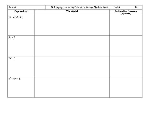 Algebra tiles distributive property worksheets