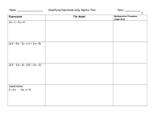 Algebra tiles graphic organizers – Algebra Tiles Worksheet
