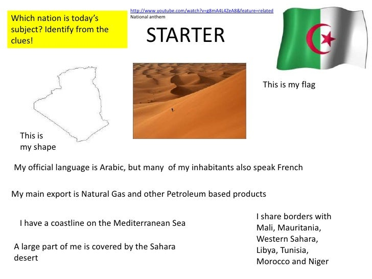 STARTER<br />http://www.youtube.com/watch?v=g8mA4L4ZeA8&feature=related<br />National anthem<br />Which nation is today's ...