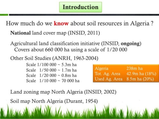 Soil resources and sustainable soil management in algeria for About soil resources
