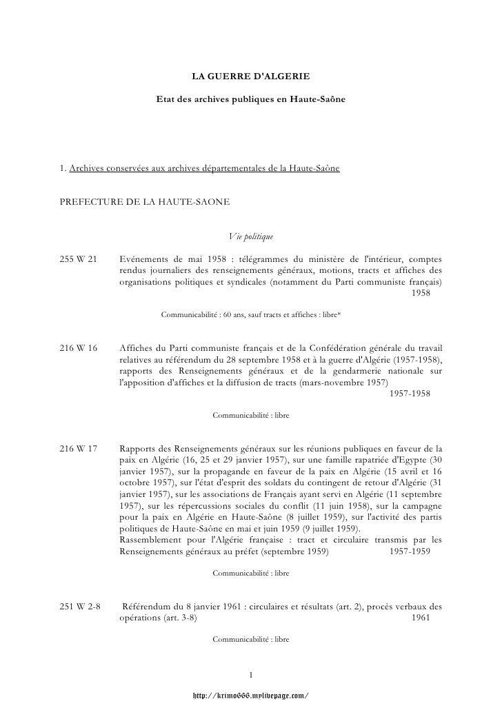 LA GUERRE DALGERIE                       Etat des archives publiques en Haute-Saône1. Archives conservées aux archives dép...