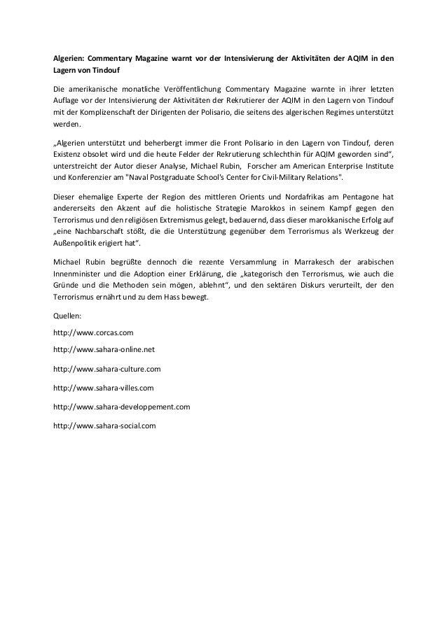 Algerien: Commentary Magazine warnt vor der Intensivierung der Aktivitäten der AQIM in den Lagern von Tindouf Die amerikan...