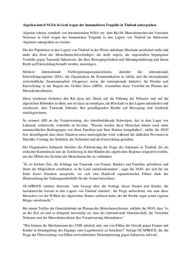 Algerien durch NGOs in Genf wegen der humanitären Tragödie in Tindouf untergraben Algerien scheint, ernsthaft von internat...