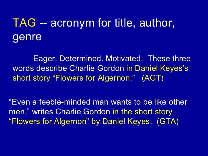 A plot overview of daniel keyes story flowers for algernon