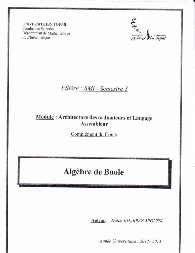 LINIVERSITE IBN TOFAIL Facult6 des Sciences Ddpartement de Math6matique Et d'Informatique Filidre : SMI - Semestre 3 Ff + ...