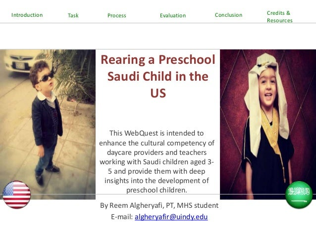 Introduction  Task  Process  Evaluation  Conclusion  Rearing a Preschool Saudi Child in the US This WebQuest is intended t...