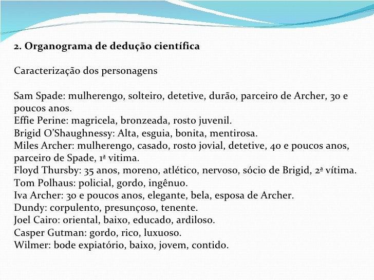 2. Organograma de dedução científica  Caracterização dos personagens Sam Spade: mulherengo, solteiro, detetive, durão, pa...
