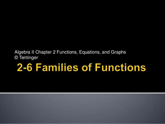 Algebra II Chapter 2 Functions, Equations, and Graphs© Tentinger