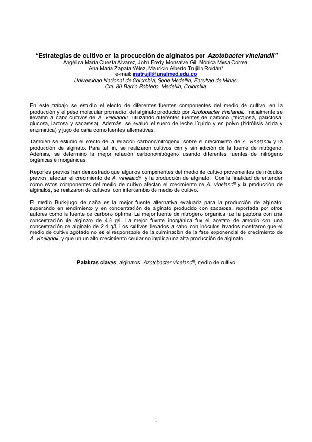 """""""Estrategias de cultivo en la producción de alginatos por Azotobacter vinelandii""""              Angélica María Cuesta Alvar..."""