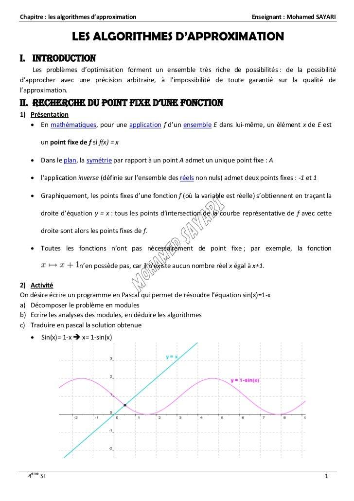 Chapitre : les algorithmes d'approximation                                        Enseignant : Mohamed SAYARI             ...