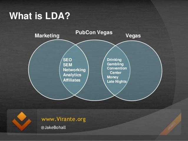 What is LDA? PubCon Vegas  Marketing  SEO SEM Networking Analytics Affiliates  www.Virante.org @JakeBohall  Vegas  Drinkin...