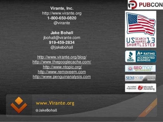 Virante, Inc. http://www.virante.org 1-800-650-0820 @virante Jake Bohall jbohall@virante.com 919-459-2834 @jakebohall http...