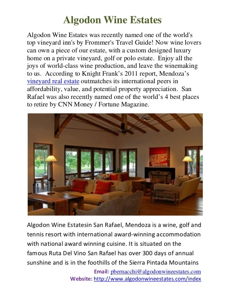 Algodon Wine EstatesAlgodon Wine Estates was recently named one of the worldstop vineyard inns by Frommers Travel Guide! N...