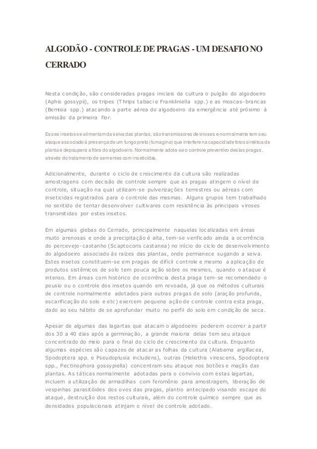 ALGODÃO - CONTROLE DE PRAGAS - UM DESAFIO NO  CERRADO  Nesta condição, são consideradas pragas iniciais da cultura o pulgã...