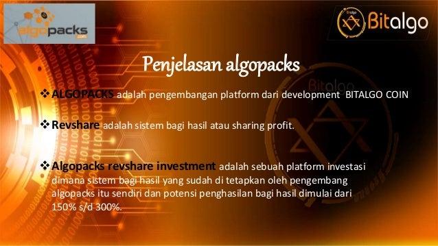 Penjelasan algopacks ALGOPACKS adalah pengembangan platform dari development BITALGO COIN Revshare adalah sistem bagi ha...
