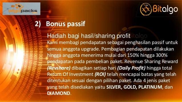 2) Bonus passif Hadiah bagi hasil/sharing profit Kami membagi pendapatan sebagai penghasilan passif untuk semua anggota up...