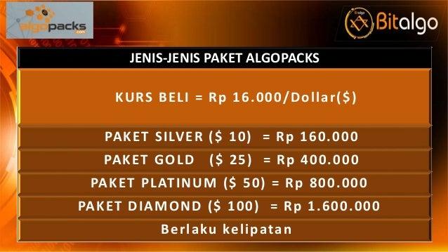 JENIS-JENIS PAKET ALGOPACKS KURS BELI = Rp 16.000/Dollar($) PAKET SILVER ($ 10) = Rp 160.000 PAKET GOLD ($ 25) = Rp 400.00...