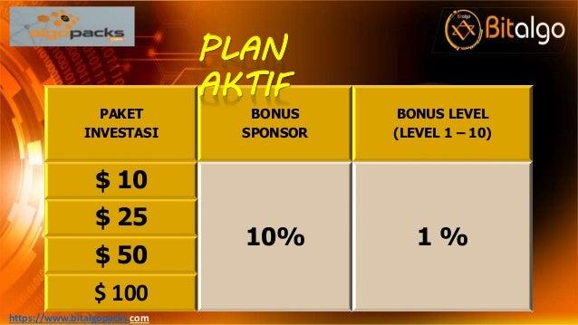 PAKET INVESTASI BONUS SPONSOR BONUS LEVEL (LEVEL 1 – 10) $ 10 10% 1 % $ 25 $ 50 $ 100 https://www.bitalgopacks.com PLAN AK...