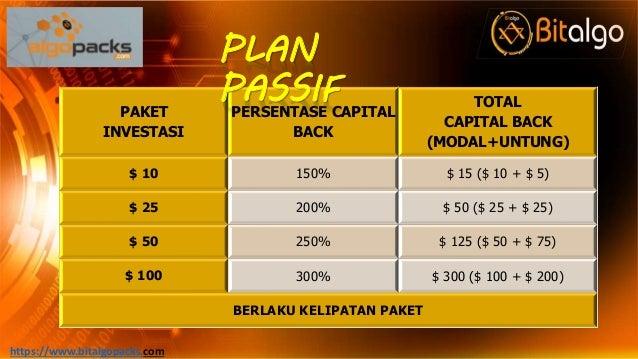 PAKET INVESTASI PERSENTASE CAPITAL BACK TOTAL CAPITAL BACK (MODAL+UNTUNG) $ 10 150% $ 15 ($ 10 + $ 5) $ 25 200% $ 50 ($ 25...
