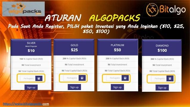 ATURAN ALGOPACKS Pada Saat Anda Register, PILIH paket Investasi yang Anda Inginkan ($10, $25, $50, $100) https://www.bital...