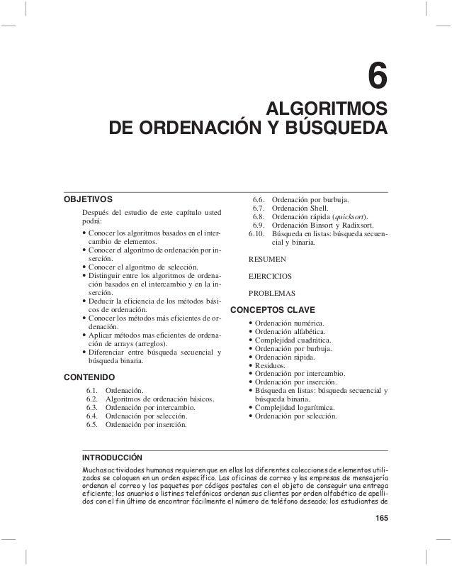 6                         ALGORITMOS           DE ORDENACIÓN Y BÚSQUEDAOBJETIVOS                                          ...