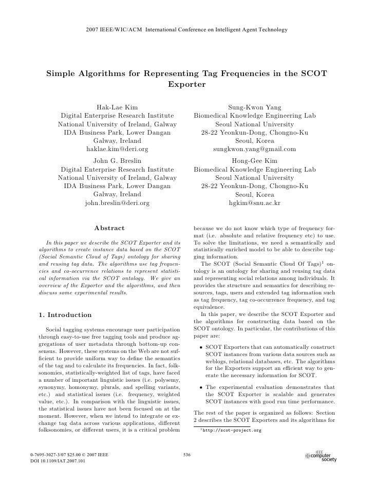 2007 IEEE/WIC/ACM International Conference on Intelligent Agent Technology            Simple Algorithms for Representing T...