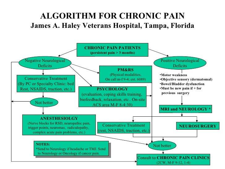 ALGORITHM FOR CHRONIC PAIN James A. Haley Veterans Hospital, Tampa, Florida CHRONIC PAIN PATIENTS (persistent pain > 3 mon...