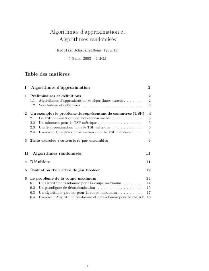 Algorithmes d'approximation et                  Algorithmes randomis´s                                       e            ...