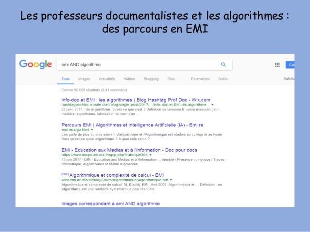 Les professeurs documentalistes et les algorithmes : des parcours en EMI