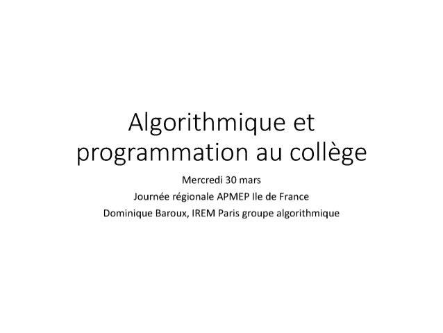 Algorithmique au collège (D.Baroux)