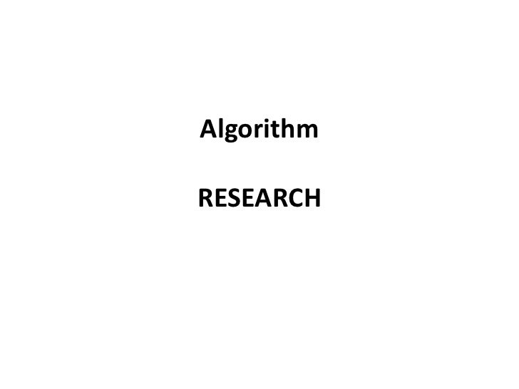 AlgorithmRESEARCH<br />
