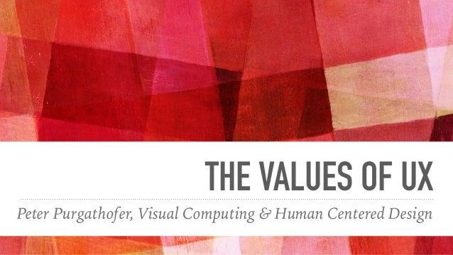 THE VALUES OF UX Peter Purgathofer, Visual Computing & Human Centered Design