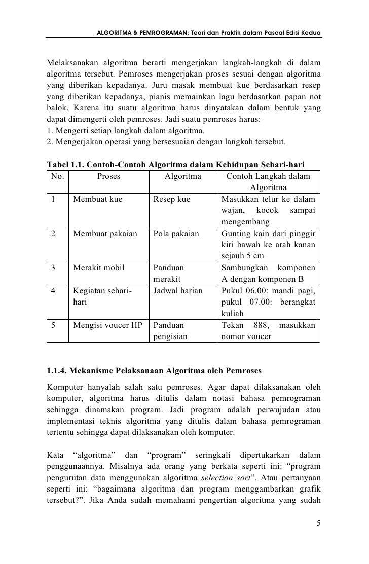 Algoritma Dan Pemrograman Teori Dan Praktik Dalam Pascal Edisi Kedua