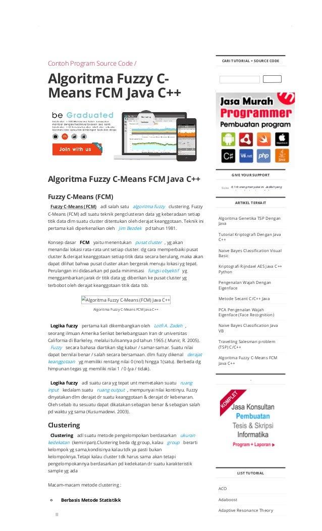 Algoritma fuzzy c means fcm java c++ contoh program