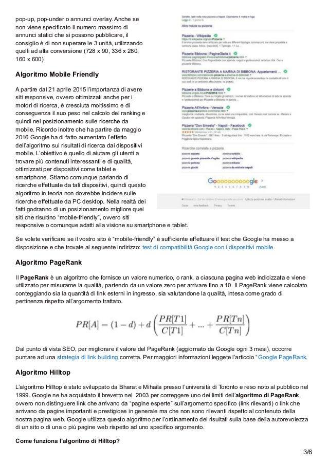 Algoritmi dei motori di ricerca Slide 3