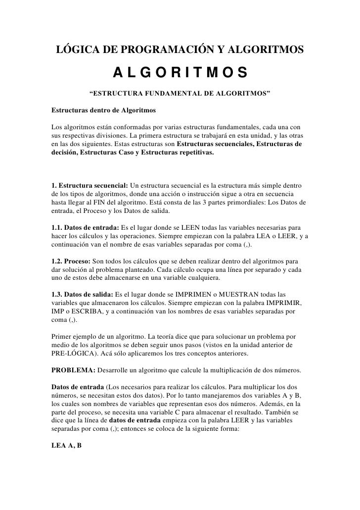 """LÓGICA DE PROGRAMACIÓN Y ALGORITMOS<br />A L G O R I T M O S<br />""""ESTRUCTURA FUNDAMENTAL DE ALGORITMOS""""<br />Estructuras ..."""