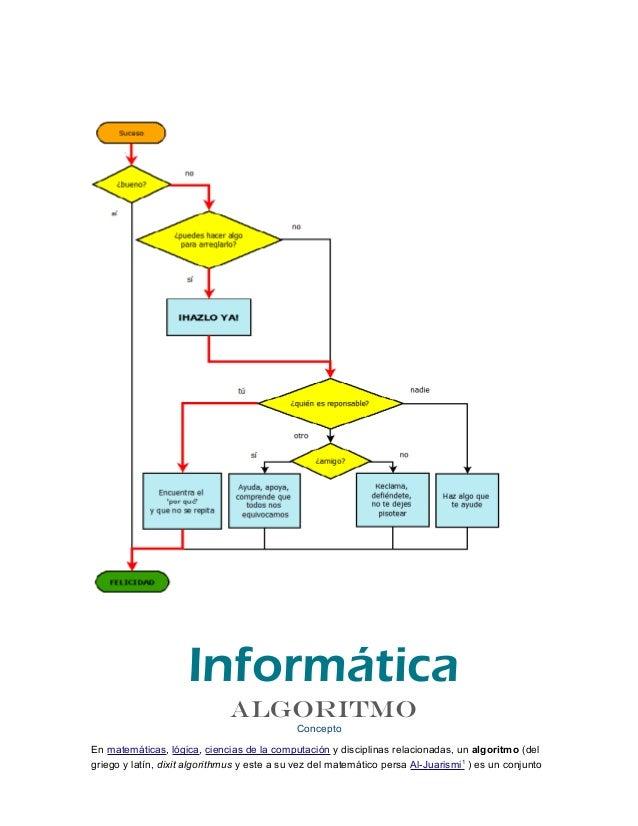 ConceptoEn matemáticas, lógica, ciencias de la computación y disciplinas relacionadas, un algoritmo (delgriego y latín, di...