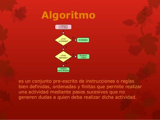 Algoritmo es un conjunto pre-escrito de instrucciones o reglas bien definidas, ordenadas y finitas que permite realizar un...